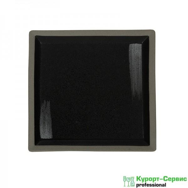 Тарелка квадратная «Corone Rustico» 200 мм черная с белым