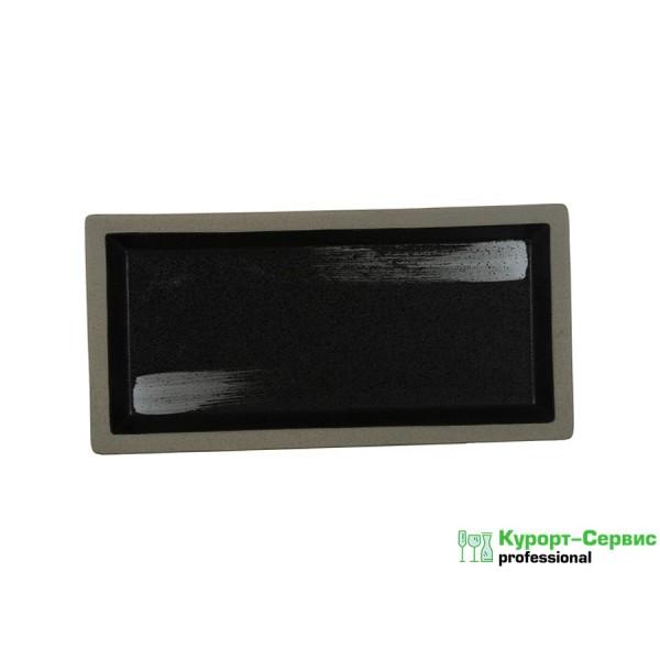 Блюдо прямоугольное «Corone Rustico» 265х130 мм черное с белым