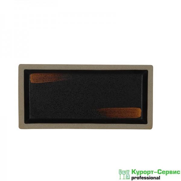 Блюдо прямоугольное «Corone Rustico» 265х130 мм черное с медным