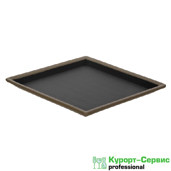 Тарелка квадратная «Corone Rustico» 200 мм бежевая с черным